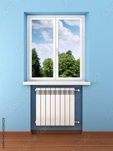 Radiator and nature in home interior