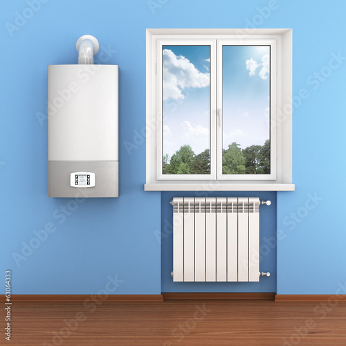 Radiator, boiler and nature in home interior