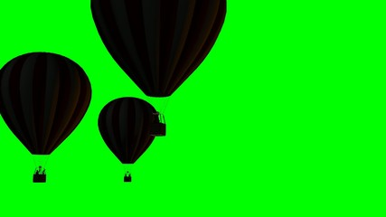 Hot Air Balloons Beautiful Silhouette on green screen
