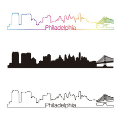 Philadelphia skyline linear style with rainbow
