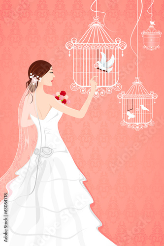 Bride with Bird Cage