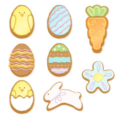 Set of decorated easter cookies of different forms.