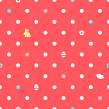 Easter polka dot seamless vintage pattern in red color.