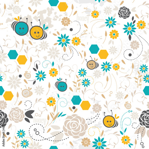 Seamless floral pattern, bee