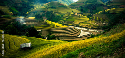 Deurstickers Overige Rice fields on terraced in sunset at Mu Cang Chai, Vietnam