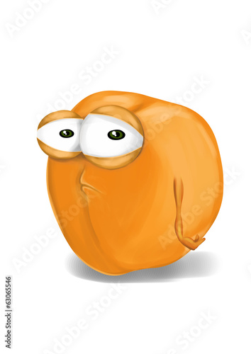 Sad yellow apricot cartoon, a depressed, disappointed character.