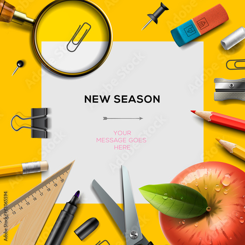 Bback to school template, vector Eps10 illustration.