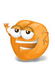 Happy apricot cartoon character, smiling and waving hand