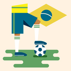 Brazil, national soccer uniform and flag, flat design