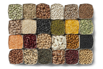 Variety of dried beans and lentils