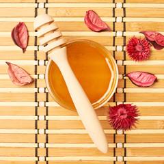 Honey dipper, jar and potpourri