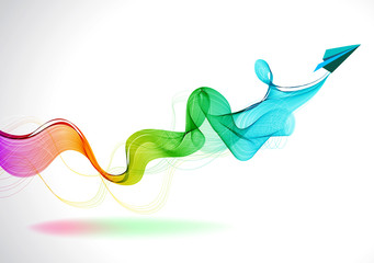 Abstract color background with paper air plane