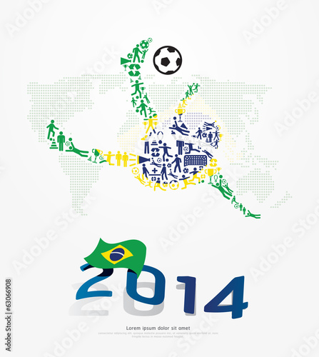 Elements Small Icons Soccer Player Shape on Flag of Brazil 2014.