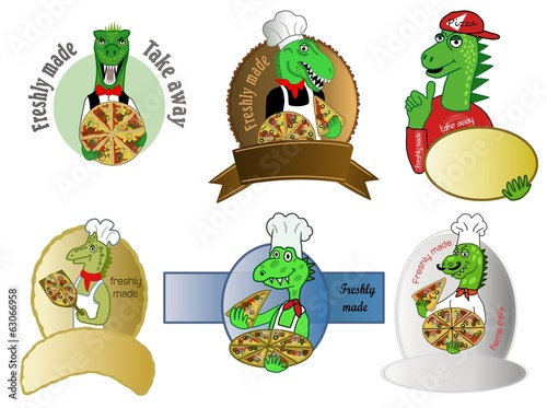 pizza dinosaur logo designs