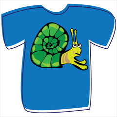T-shirt with a snail on white background