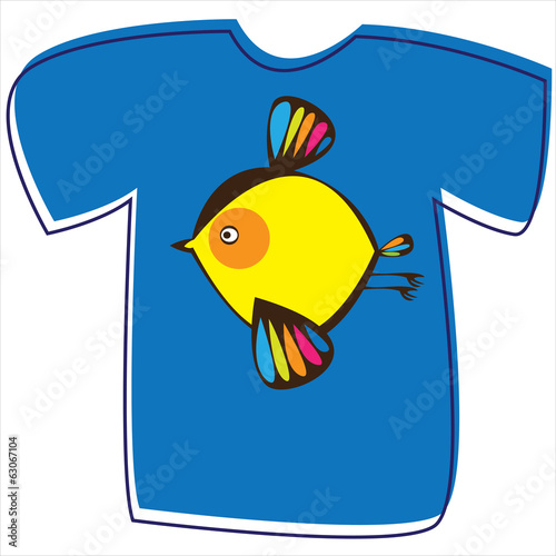 T-shirt with a bird on white background