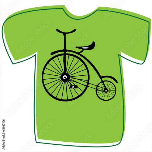 T-shirt with a bicycle on white background