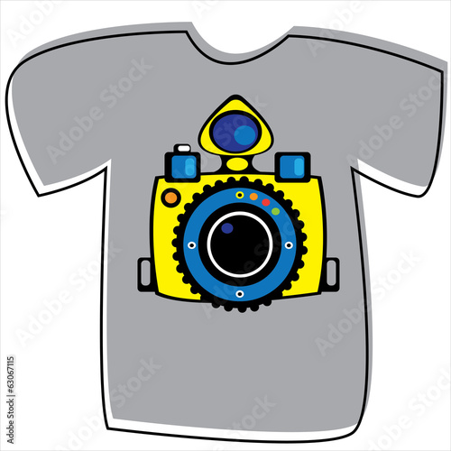 T-shirt with a camera on white background