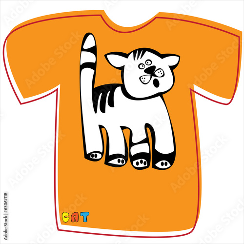 T-shirt with a cat on white background