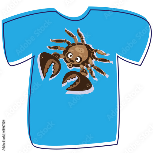 T-shirt with a crab on white background