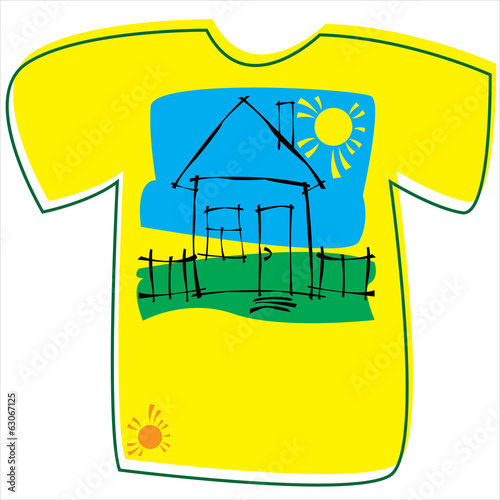 T-shirt with a house on white background