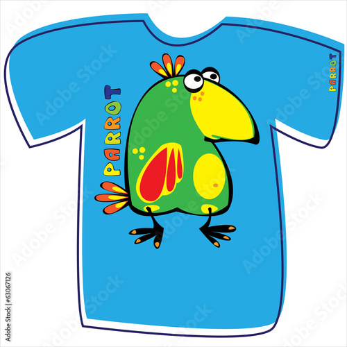 T-shirt with a parrot on white background