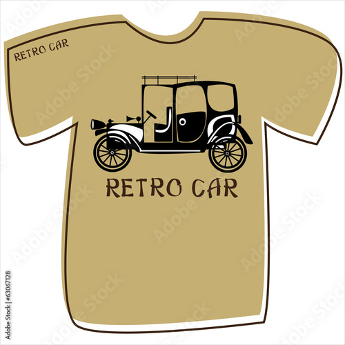 T-shirt with a retro car on white background