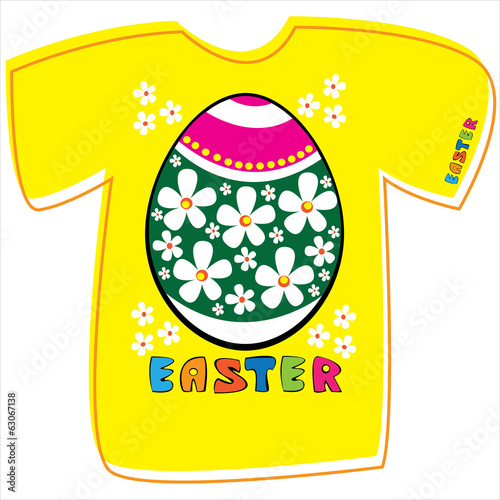 T-shirt with Easter egg on white background