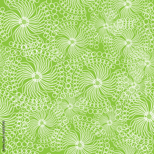 white dandelions flowers seamless pattern