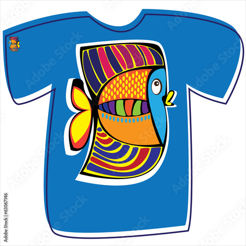 T-shirt with fish on white background