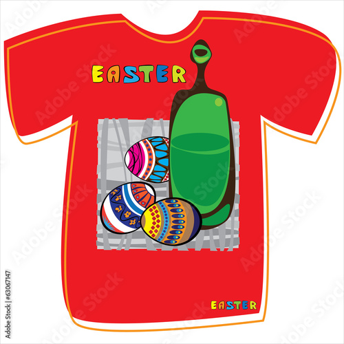 T-shirt with Easter eggs on white background