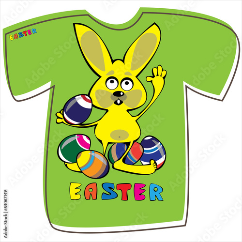T-shirt with rabbit on white background