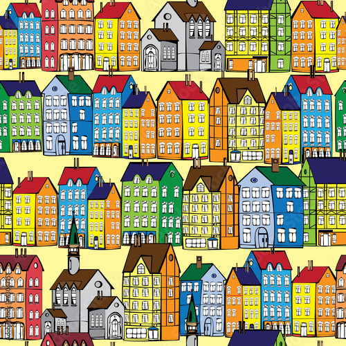 europe old houses seamless pattern