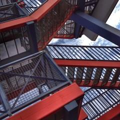 Stahltreppe, abstrakte Architektur