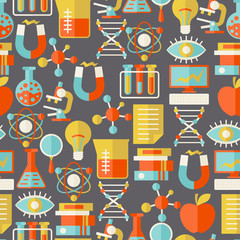 Science seamless pattern in flat design style.