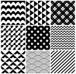 Vintage Black and White Seamless Geometric Backgrounds