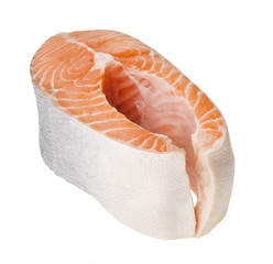 Fresh raw salmon isolated on white background