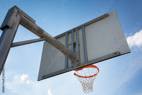 Basketball hoop against  lovely blue summer sky