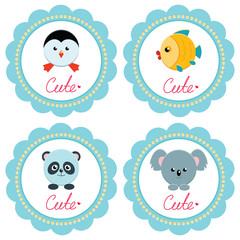 Cute baby retro-styled cards with little animals