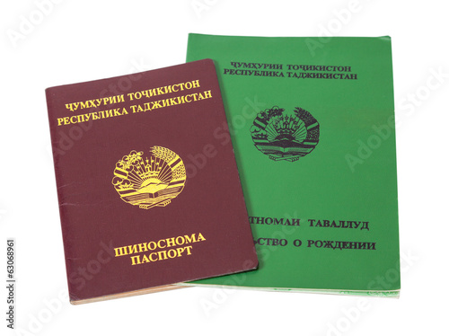 Tajikistan passport and birth certificate isolated on the white