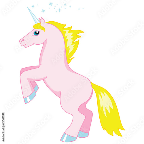Vector illustration of cartoon pink unicorn isolated on white