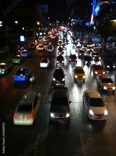 Traffic in Bangkok at night