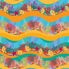 Seamless pattern with Coral Reef and Marine life - Underwater ba