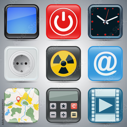 Application icons vector set 1