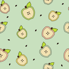 Apple halves with leaves stones  seamless  background