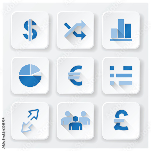 Business Financial Flat Icons Set