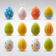 Set of realistic eggs on white background. Easter collection.