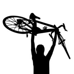 Radfahrer Sieg Jubel Ziel