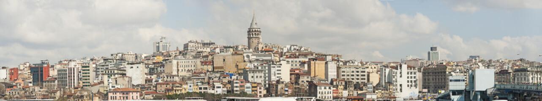 Cityscape over Istanbul Turkey and Bosphorus