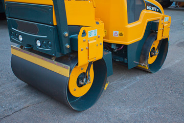 Road rollers close-up during asphalt paving works
